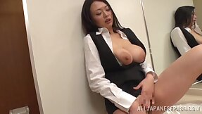 Astounding Japanese secretary Nachi Kurosawa masturbates plus gives head